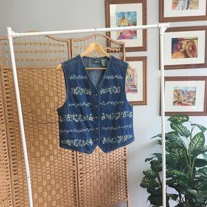 Vintage Floral Embroidered Denim Vest L